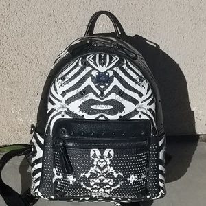 MCM Limited Edition Zebra,backpack,leather,studded